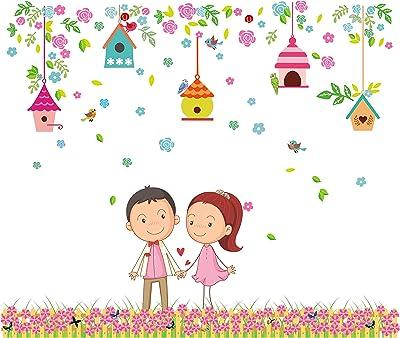 Decor Kafe Valentine's Day Special Cute Couple Wall Sticker 77cm x 91cm