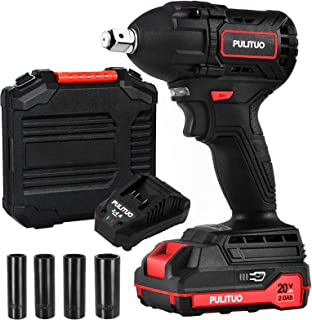 PULITUO Impact Wrench 20V Brushless with 1/2inch Square Driver and Max Torque 295 ft-lbs(400N.m), Cordless Powerful Impact...