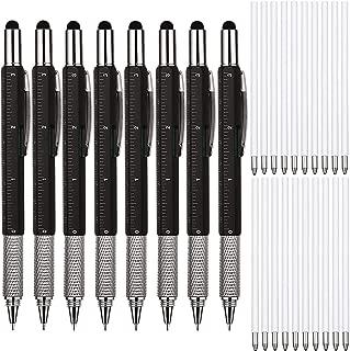 8 Pieces Gift Pen for Men 6 in 1 Multitool Tech Tool Pen Screwdriver Pen with Ruler, Levelgauge, Ballpoint Pen and Pen Refills, Unique Gifts for Men (Color Set 5)