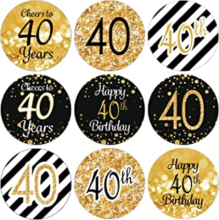 Black and Gold 40th Birthday Party Favor Stickers - 180 Labels