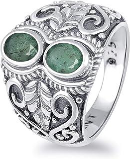Red Garnet And Ruby, Brown Smoky Quartz, Blue Aquamarine, Green Emerald 1.65 Ct Oval 925 Sterling Silver Filigree Ring Eas...