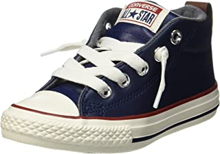 Converse Kids' Chuck Taylor All Star Mid Top Leather Sneakers (Midnight Navy)
