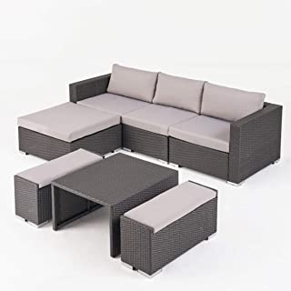 Ursula Rosa Outdoor 3 Seater L Shaped Wicker Sofa and Ottoman Set, Gray and Light Gray