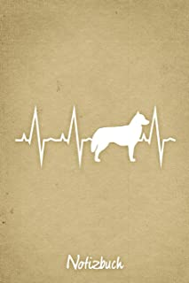 Notizbuch: Beiges Punktraster Sibirischer Husky Herzschlag Hunde Notizheft ca DIN A5 weiß punktiert 110 Seiten
