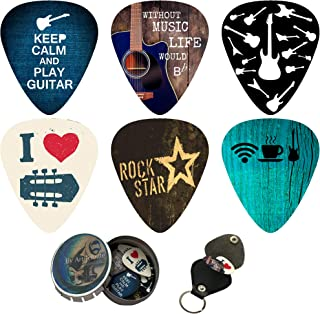 Cool Guitar Picks 12 Pack W/Tin Box & Picks Holder. Celluloid Medium Cool Picks Perfect Gift For Guitar & Lover. For Acoustic Electric and Bass Guitars