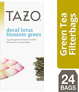TazoDecaf Lotus Blossom Green Enveloped Hot Tea Bags Herbal, Caffeine Free, Non GMO, 24 count, Pack of 6
