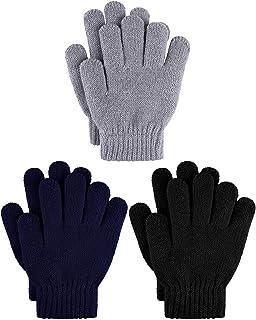 Cooraby 3 pares de guantes de invierno para niños gruesos de cachemir cálidos guantes de punto para el clima frío