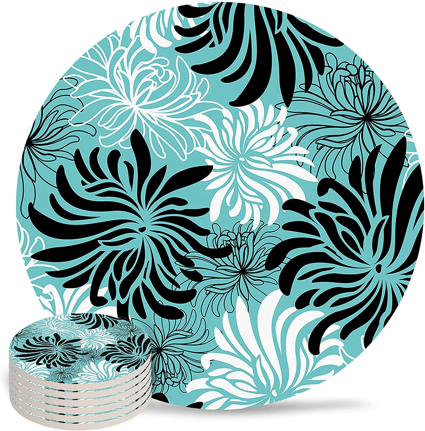 Chrysanthemum Coaster for Drinks 4 Jacksonville Los Angeles Mall Mall Inch Absorbent Pad Ceramic