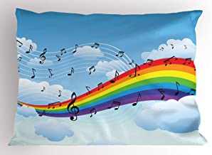 Ambesonne Music Decor Pillow Sham by, Rainbow with Music Notes Cloudscape Cartoon Fun Artwork Symphony Sky, Decorative Standard Queen Size Printed Pillowcase, 30 X 20 Inches, Multicolor