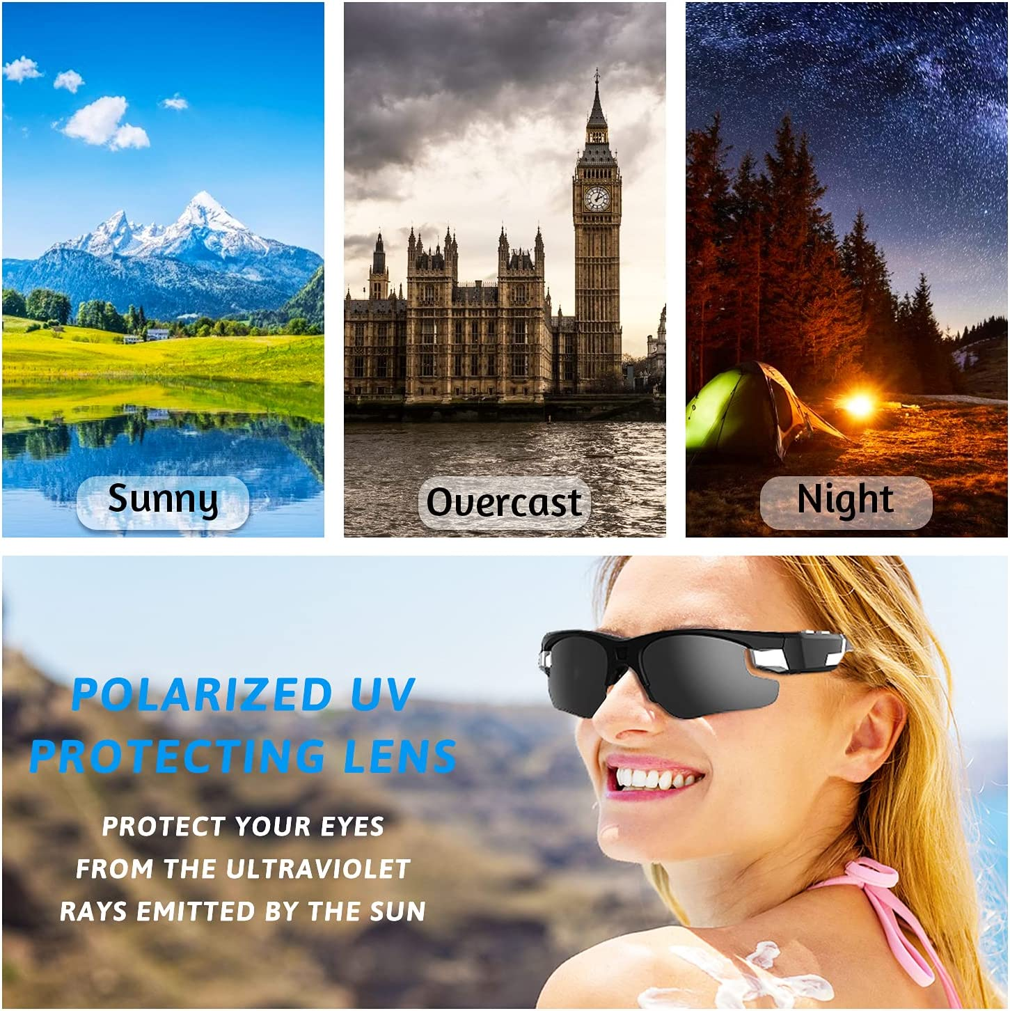 Camera Sunglasses with Polarized Lenses, 1080P Full HD Mini Video Recording Glasses Camera,Unisex Outdoor Sports Action Camera for Cycling,Driving,Hiking,Motorcycle,Travelin(Include 32G Micro SD Card)