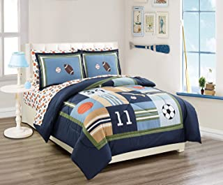 MK Home 7pc Queen Comforter Set Sport Navy Blue Green White Orange Brown Boys/Teens Football Basketball Baseball Soccer New