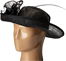 DRS1002 Straw Kettle Brim Dress/Derby Hat with Feathered Floral Detail