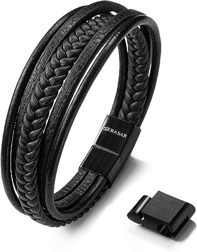Mover Bracelets Bracelet De Corde Exclusif des Hommes Extr/êmement Durable avec La Manille Noire dacier Inoxydable par des Bracelets De De Charme De Poign/ée Faite Main /Él/égante