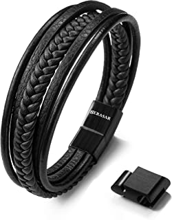 SERASAR | Premium Genuine Leather Bracelet for Men in Black & Brown | Various Lengths | Magnetic Stainless Steel Closure | Exclusive Jewellery Box | Great Gift Idea for Men
