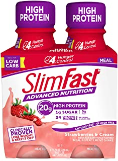 Slimfast Advanced Nutrition Strawberries & Cream Shake – Ready To Drink Meal Replacement – 20g of Protein – 11 Fl. Oz. Bot...