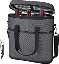 Tirrinia Insulated Wine Carrier - 3 Bottle Travel Wine Carry Cooler Tote Bag with Handle and Adjustable Shoulder Strap + Free Corkscrew, Gray