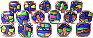 Custom Made Abstract Mosaic Dichroic Glass Knobs - Cabinet or Drawer Pull Handle - 1