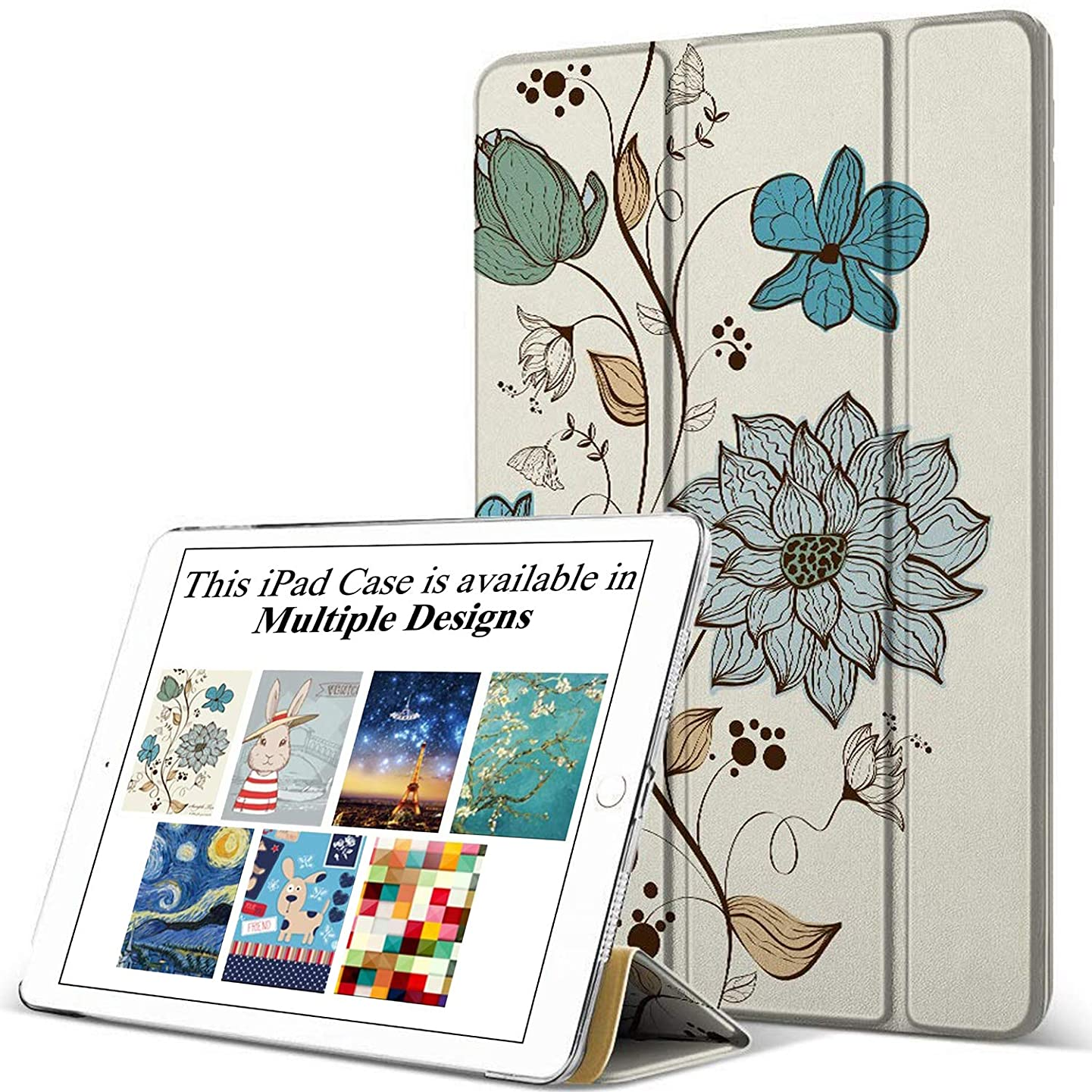 DuraSafe Case for iPad PRO 9.7 Inch 2016 [ A1673 A1674 A1675 ] Printed Smart Cover with Translucent Back, Auto Sleep/Wake - Watercolor Flowers (Trifold)