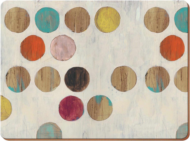 CREATIVE TOPS Juego de 4 manteles Individuales Parte Trasera de Corcho, diseño Retro de Lunares, tamaño Grande, Madera, Multicolor, 0.5 x 29 x 40 cm, 4