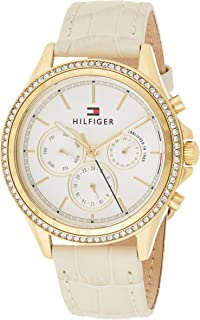 Tommy Hilfiger 1781982 Womens Quartz Watch, Analog Display and Leather Strap, Silver