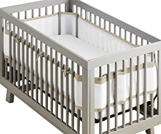 BreathableBaby Deluxe Patented, Safer for Baby, Anti-Bumper, Non-Padded, Breathable Mesh Crib Liner – White and Natural Linen Trim