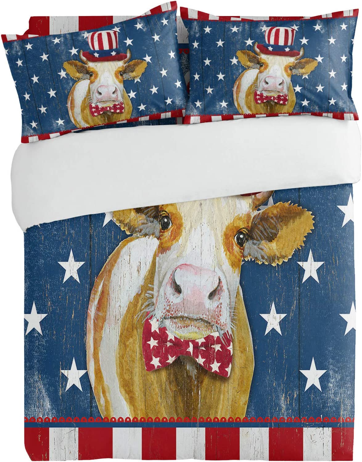 3PiecesBeddingDuvetCoverSetWatercolor Funny Cow Elegant Patriotic Super sale period limited