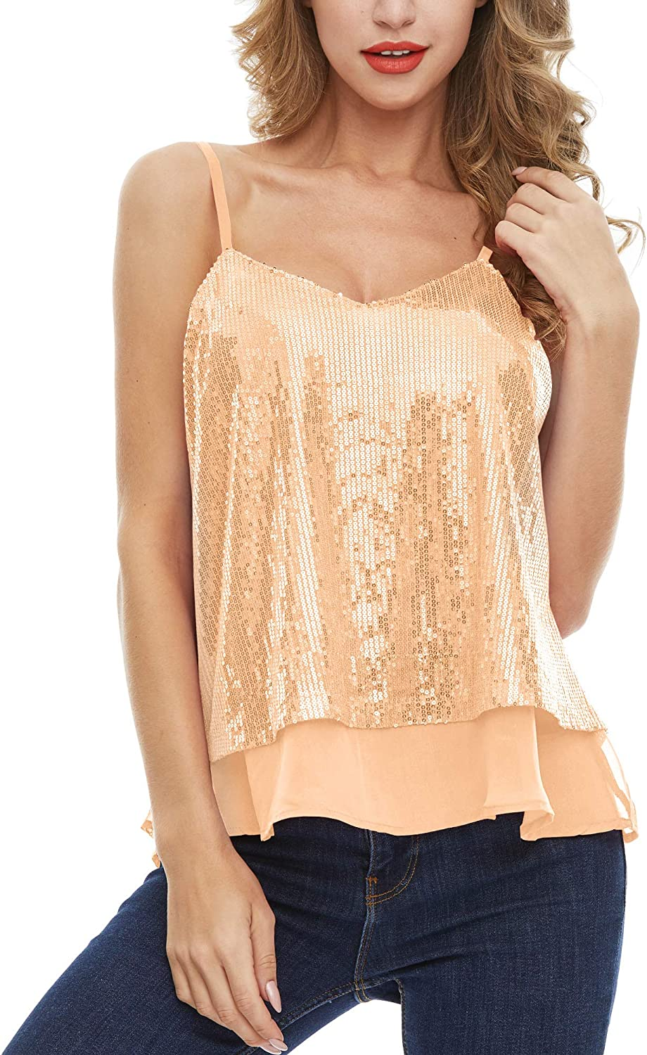 SATINIOR Womens Sleeveless Shining Camisole Sequined Vest Sequin Tank Tops S-4XL