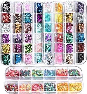 60 Boxes Nail Art Glitter Sequins, FANDAMEI 36 Boxes 3D Butterfly Glitter Sequins,12 Lip Shape Nail Sparkle Glitter,12 Maple Leaf Confetti Paillettes, Nail Flakes for DIY, Makeup,Body Face Glitter