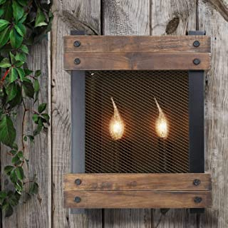 LNC Wall Lamp,Vintage Farmhouse Sconce Lighting, Wood Square Shades for Kitchen Bathroom,Living-Room A02960, Brown