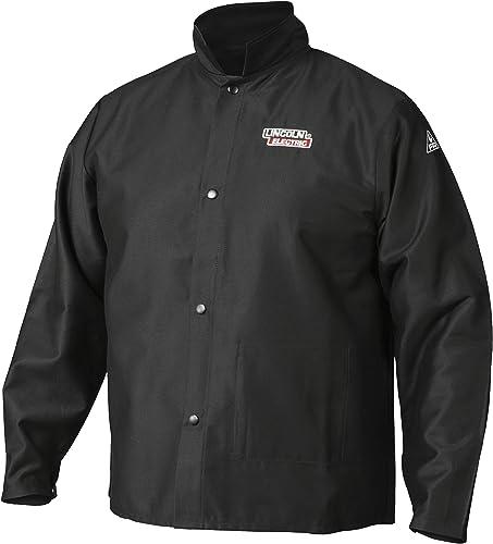new arrival Lincoln Electric Premium Flame Resistant (FR) Cotton Welding Jacket | Comfortable outlet sale | Black 2021 | Large | K2985-L sale