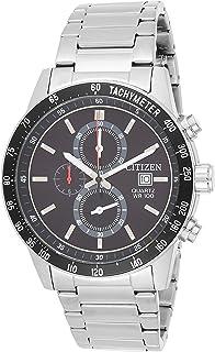 Citizen Men's Black Dial Stainless Steel Band Watch - AN3600-59E, Silver