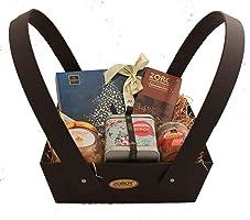 ZOROY LUXURY CHOCOLATE Leather finish Basket with assorted goodies