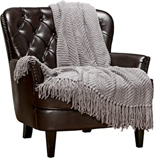 Chanasya Textured Knitted Super Soft Throw Blanket with Tassels Warm Cozy Plush Lightweight Fluffy Woven Blanket for Bed Sofa Couch Cover Living Bed Room Acrylic Silver Throw Blanket (50x65)- Gray