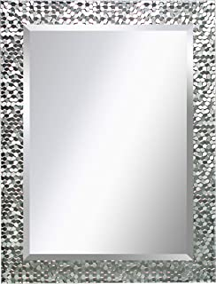 MIRROR TREND 24 x 32 Inches Silver Beveled Mirrors for Wall Mirrors for Living Room Large Bathroom Mirrors Wall Mounted Mosaic Design Mirror for Wall Decorative (Silver)