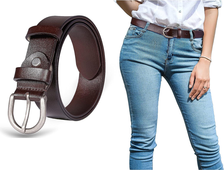 Yanstar Women's Belts Black - Genuine Sing Leather Belt Super sale Prong unisex Bu