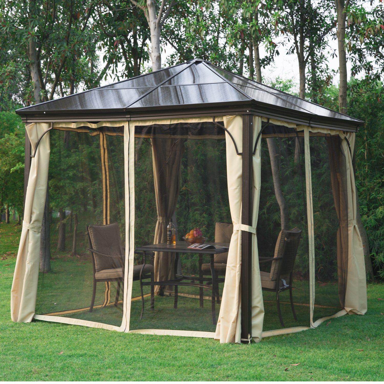 Cenador de jardín impermeable 4 paredes laterales anti rayos UV, 4 mosquiteras, paneles de policarbonato aluminio, 3 x 3 x 2, 6 m, color chocolate y beis 71: Amazon.es: Jardín