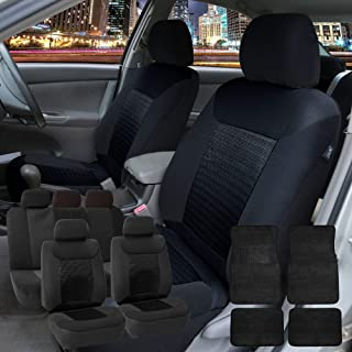 FH Group FH-FB062115 Premium Fabric Car Seat Covers, Airbag Compatible and Split Bench with F14407 Premium Carpet Floor Mats Solid Black- Fit Most Car, Truck, SUV, or Van