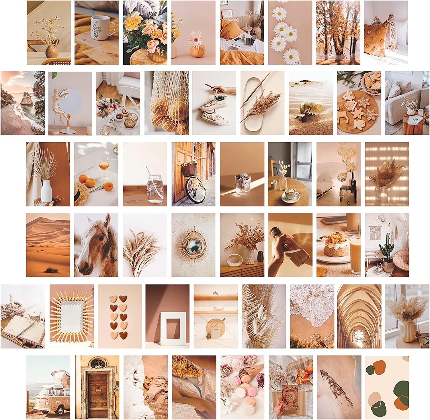 Wall Collage Kit for Aesthetic Pictures 50pcs, 4x6 inch,Boho Photo Posters Room Decors for Bedroom Livingroom for Teens Girls