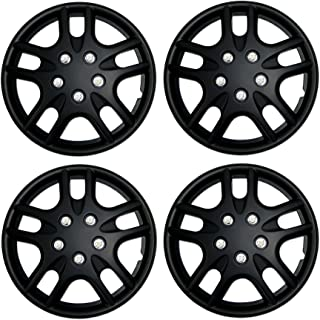 Tuningpros WC3-15-3523-B - Pack of 4 Hubcaps - 15-Inches Style 3523 Snap-On (Pop-On) Type Matte Black Wheel Covers Hub-caps