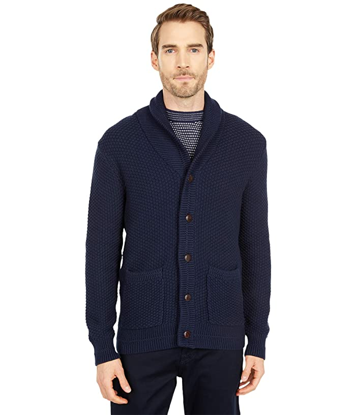 Men's Vintage Sweaters, Retro Jumpers 1920s to 1980s J.Crew 2-10s Cotton Checker Stitch Cardigan Navy Mens Clothing $89.99 AT vintagedancer.com