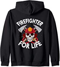 Firefighter For Life Skull Hoses & Axes Emblem Zip Hoodie
