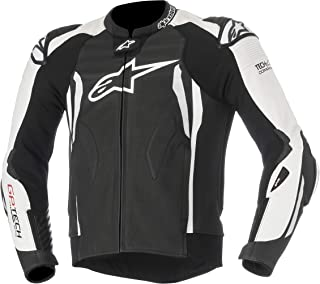 GP Tech V2 Leather Racing Motorcycle Jacket for Tech-Air Race Airbag System (56 EU, Black White)