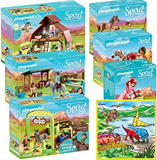 PLAYMOBIL Mega Playset for Kids Spirit Riding Free Barn with Lucky, Spirit Riding Free Arena, Senor Carrots, Horse and Foal, Maricela with Bicycle with Washable Coloring Play Mat with 12 Markers