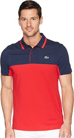 Lacoste Short Sleeve Pique w/ Color Block & Jacquard Collar w/ Contrast Piping
