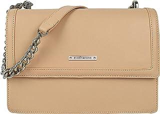EVERMORE Umhängetasche Damen Handtasche CremeSchultertasche Frauen Kettentasche Mittelgroß Arbeitstasche Magnetknopf Klas...