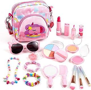 Auney Kids Make Up Set Washable Make Up Kit for Girls, 18 Pcs Real Make Up Toy with Cute Bag, Sunglasses, Jewelry Bracelet...