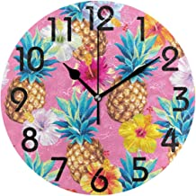Realfits Chic Hawaiian Pineapples and Hibiscus Flowers Pattern Round Wall Clock 9.5