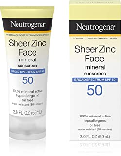 Neutrogena Sheer Zinc Oxide Dry-Touch Face Sunscreen with Broad Spectrum SPF 50, Oil-Free, Non-Comedogenic & Non-Greasy Mi...