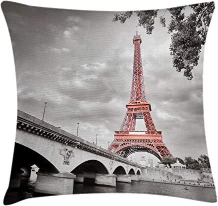 Ambesonne Paris Throw Pillow Cushion Cover,  Eiffel Tower Bridge Capital City Cloudscape Monochrome Style Picture Print,  Decorative Square Accent Pillow Case,  18 X 18 inches,  Dimgray and Salmon