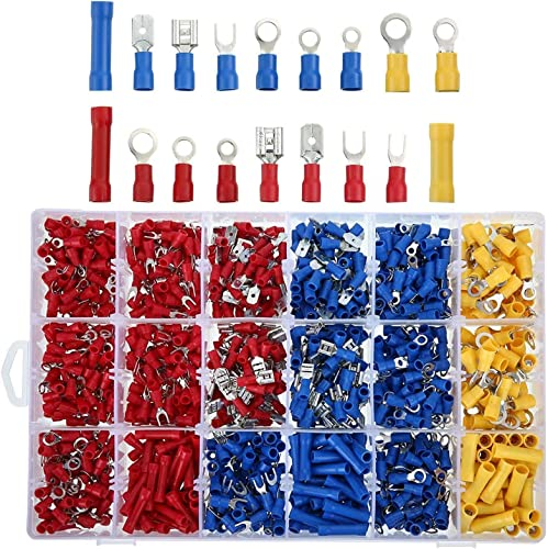 high quality MGGi 1200Pcs Insulated Wire Electrical Connectors, Wire outlet sale Crimp Connectors discount Terminals Kit with Ring, Spade, Butt, Quick Disconnect, Piggy Back, Bullet Connector, Automotive Cable Terminals Assortment Kit outlet sale